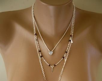 Moonstone and Garnet Minimalist Necklace, Triple Strand, January Birthstone, Minimalist Jewelry, Multi Strand, Long Dangling Necklace