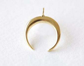 Vermeil Gold Crescent Moon Horn Pendant -  C shape wish moon charm, half moon, eclipse, tusk, astrology, 18k gold plated over 925 silver