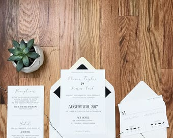 Olivia Suite - Minimalists Black and White - Wedding Invitation