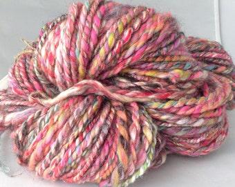 Pink Candy Handspun Yarn 2ply super soft chunky Merino Wool 83 yds,76m,100g, 8wpi