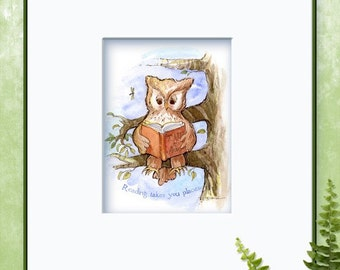 Childrens Art - Reading Takes You Places Owl  Watercolor Pen Print