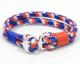 paracord anchor bracelet, patriotic bracelet, 4th of July jewelry, american flag bracelet, USA bracelet, red white blue nautical bracelet