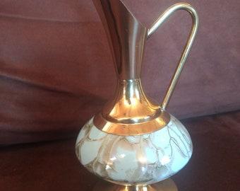 Vintage Brass and Porcelain Delft pitcher