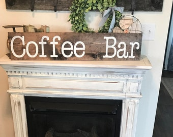 Large Coffee bar sign /  3 or 4 ft / coffee sign / kitchen sign / farmhouse style wall decor / coffee decor