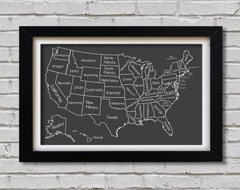 Chalkboard United States Map Poster (Printable)