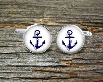 Anchor Nautical Blue On White Cufflinks-Wedding-Cufflink Box-Jewelry Box-Silver-Keepsake-Man gift-Graduation-Men-History-Nautical-Sailing