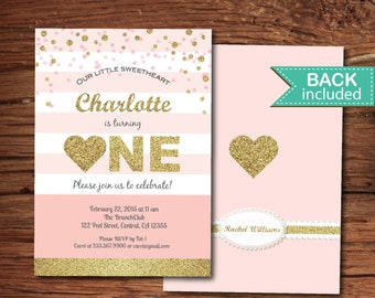 Valentine first birthday invitation. Pink and gold glitter girl 1st birthday digital printable invite. VKB01
