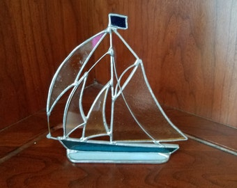 Stained Glass Sailboat Sculpture