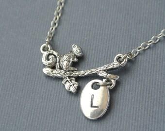 Squirrel Charm Necklace Autumn Necklace Squirrel Jewelry Squirrel Pendant Animal Necklace Handstamped Jewlery Initial Necklace Monogram