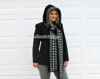 Crochet Pattern 177 Crochet Hooded Scarf Crochet Patterns Black Gray Scarf Child Adult Woman Ladies Wrap Autumn Winter Neck Warmer Christmas