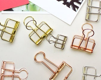 Creoly Pack of 12 Skeleton Binder Clips, Rose Gold, Gold and Silver.