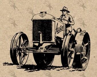 Tractor Farm Driver Vintage image Instant Download printable Vintage picture clipart digital graphic transfer paper burlap fabric  HQ300dpi