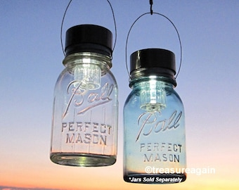 Hanging Solar Mason Jar Lids 2 Garden Upcycled Mason Jar Solar Lights with Hangers, Lids Only, No Jars