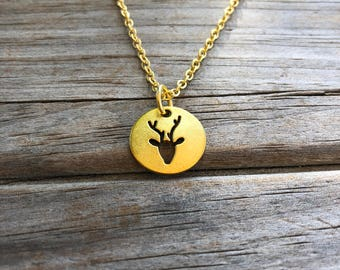 Silver or Gold Antler Necklace, Horn Charm Necklace, Deer Necklace, Minimalist Necklace, Gift for her, Christmas Necklace, Christmas Gift