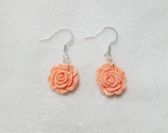 Acrylic Rose Earrings (Coral)