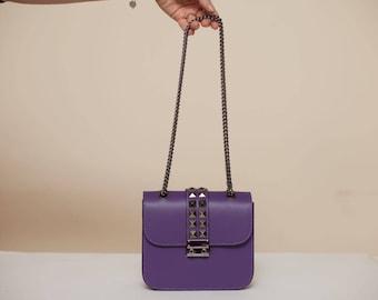 Purple Studded Crossbody Leather  Bag
