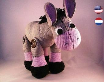 PDF pattern Poncho the Donkey, English and Dutch, amigurumi donkey, donkey pattern, crochet pattern donkey, crochet donkey, farm animal