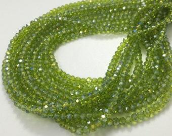 3 Full Strands Glass Crystal beads,3*4mm Rondelles-Olive Green
