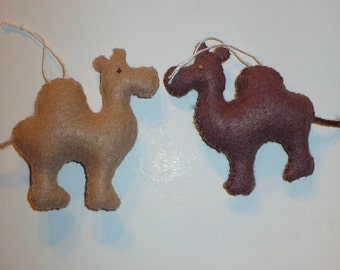 Two Miniature Felt Camel Ornaments