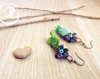 Sari Silk earrings, Boho earrings with Flowers & Silk. Tassel Earrings, Flowers earrings, green earrings, whimsy earrings, nature earrings