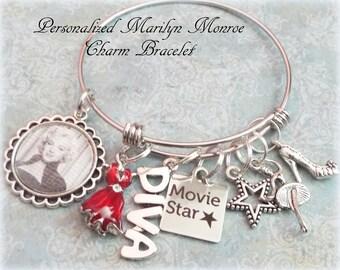 Marilyn Monroe Charm Bracelet, Daughter Birthday Gift, Granddaughter Birthday Gift, Gift for Marilyn Monroe Fan, Movie Star Charm Bracelet