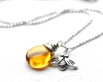 Honeybee Necklace,  Yellow Glass Wire Wrapped Teardrop Pendant, Amber Czech Glass, Sterling Silver Honeybee Charm, Nature Jewelry