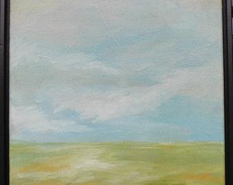 "Flint Hills Oil on Canvas 12"" x 12"" Framed Original Painting by Jill Opelka Flint Hills Kansas Plains Black Frame Landscape Oil Painting"
