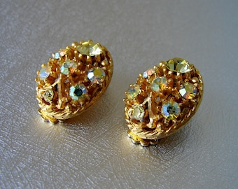 Rhinestone Clip Back Earrings Citrine Yellow & Aurora Borealis Vintage Costume Jewelry AB Gold Wedding Bridal Formal Pageant Ballroom Prom