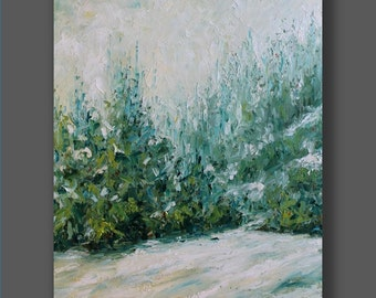 Large Painting Landscape Winter Painting Original Contemporary Green Abstract Flowers Palette Knife Living Room Art Painting by Mirjana