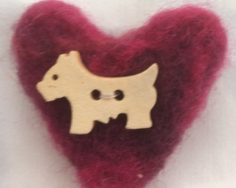 Doggie brooch Felted wool brooch Heart brooch Small dog brooch gift for dog lover Gift for her Safety pin fastening  Sold for charity