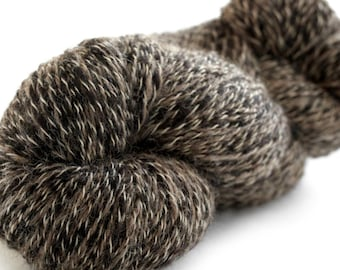 Peruvian Tweed 100% Superfine Alpaca Yarn 600 yards- Super Soft! Dark Tan & Black- Natural/ Organic NO DYES!