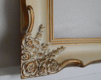 "Hollywood Regency 10.5""W x 13.5""H Painted Portrait Frame with Rose Detail in Antique White w/Gold Gilt Detailing - 1960s Frame with Glass"