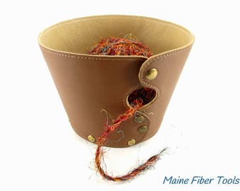 Leather Yarn Bowl- Cocoa Brown & Sugar Maple- Leather Knitting Bowl- Maine Fiber Tools