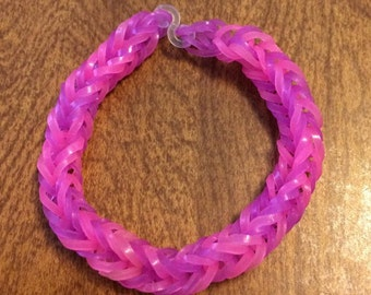 Jelly Bands - Pink & Purple - Fishtail Rainbow Loom Rubber Bracelet USA