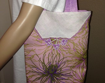 Handcrafted Purse/Tote/Bag With Repurposed Crochet Trim Hankie