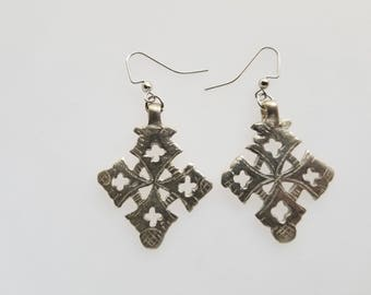Earrings, Ethiopian Coptic Cross earrings, handmade earrings, Coptic Cross, African jewelry, Ethiopian earrings