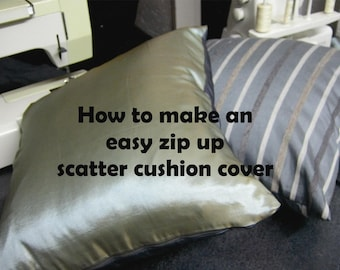 Zip up cushion cover: Tutorial & pattern