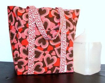 Fabric Market Bag. Reusable Fabric Tote Bag.  Cotton Shopping Bag.  Reversible Bag. Flat bottomed bag.  Valentine's Day tote bag.  Heart bag