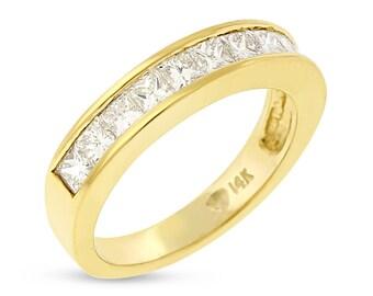 1.12 CT Natural Diamond Princess Cut Wedding Band in Solid 14k Yellow Gold