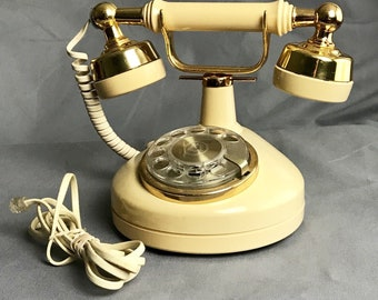 Western Electric Ivory and Gold Vintage Style Rotary Dial Telephone Princess