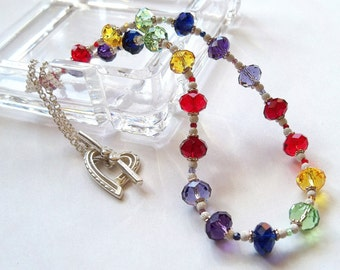 Swarovski Crystal Triple Rainbow Necklace, Heart Toggle Clasp