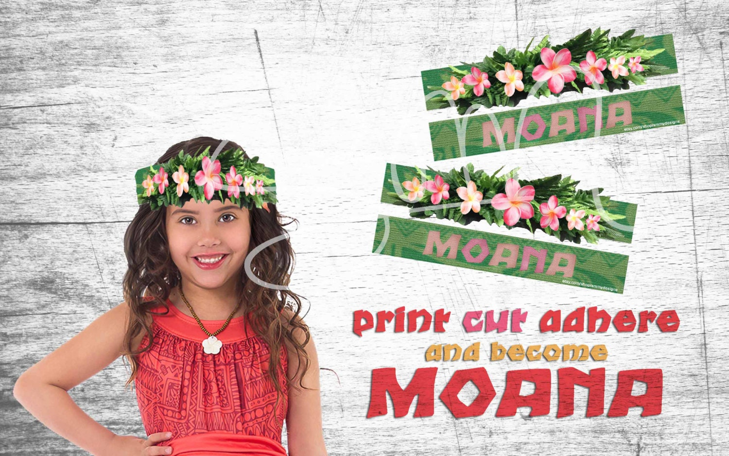New Moana Digital Download Party Supplies Flower Crown