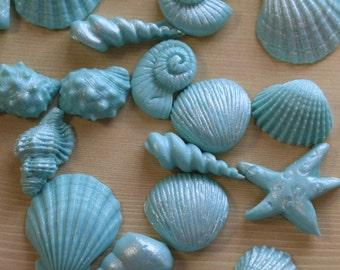 Turquiose Edible Seashells for Cakes/ Cupcakes/ Edible Decorations/ Beach Themed