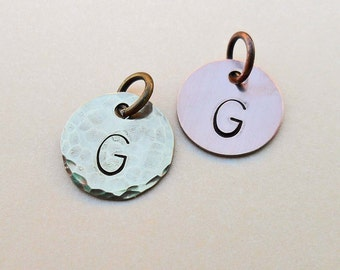 Copper Brass Initial - Aluminum Initial Add-on Charm - Hand-Stamped Initial Charm - Personalized Initial - Custom Letter Charm - S33
