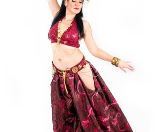 Belly Dance Pants Tribal Fusion Long Red Bloomers READY TO SHIP
