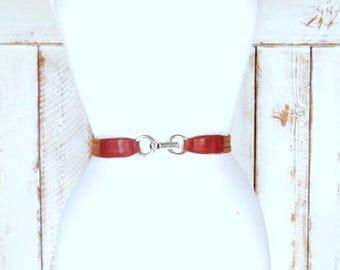 Vintage skinny brown elastic stretch jute chord leather belt/woven jute twine chord elastic hook belt