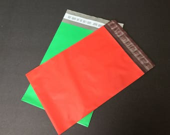 50  7.5 x 10.5 RED and GREEN Poly Mailers 25 Each  Self Sealing Envelopes Shipping Bags Christmas
