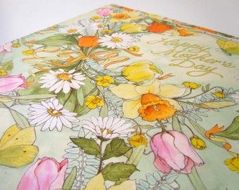 Vintage 1970s Mother's Day Wrapping Paper Floral Flower Tulip Gift Wrap