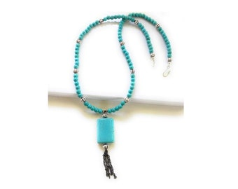 Long Turquoise Tassel Bead Necklace