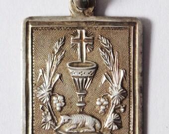 Antique Religious Solid Silver Medal Agnus Dei